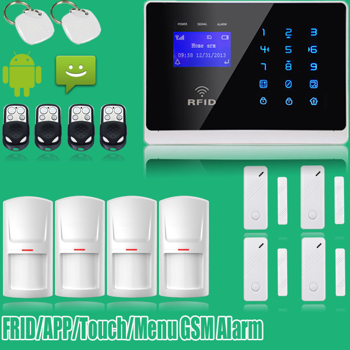 IOS APP ANDROID Wireless Wired GSM Alarm System Security Touch Keypad Home Alarm English Italian Russian Voice wireless smoke fire detector for wireless for touch keypad panel wifi gsm home security burglar voice alarm system