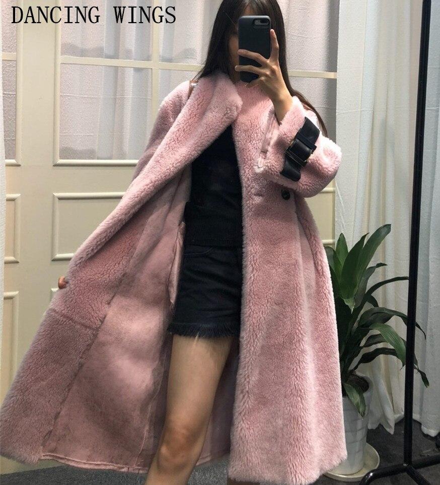 Réel double-face de fourrure manteau d'hiver veste femmes long chaud épais naturel agneau manteau de fourrure survêtement
