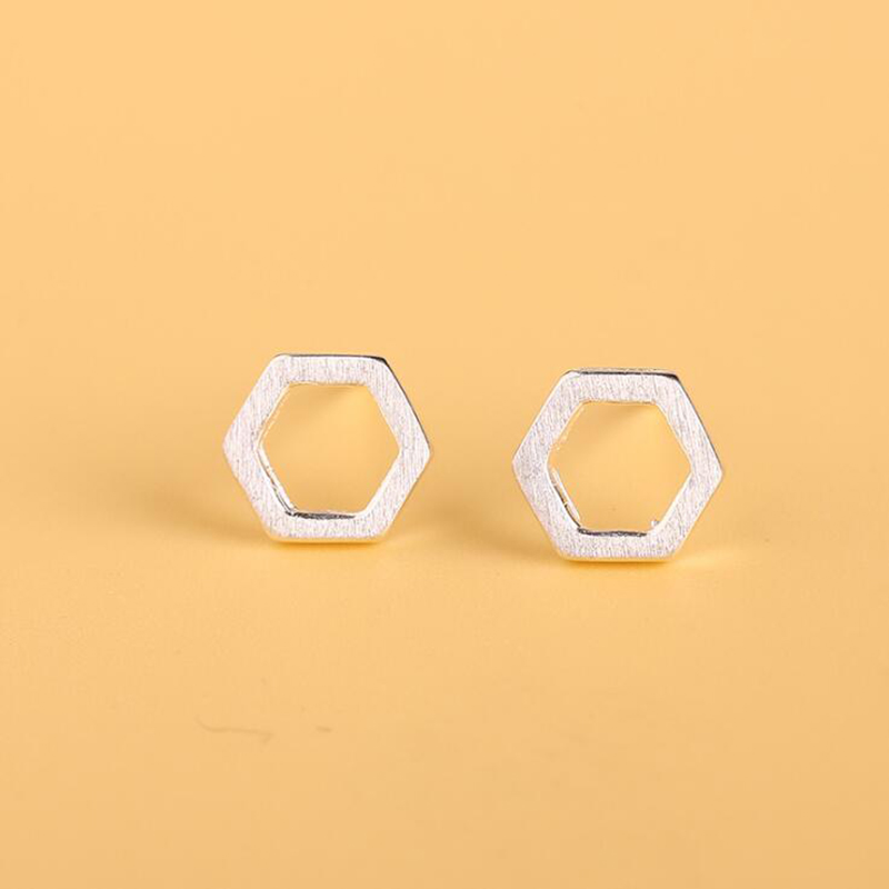 Trendy Women's Fashion Stud Earrings Hexagon Shape Stainless Steel Cute Girls aretes de mujer Retro Silver Jewelry 925 Geometric
