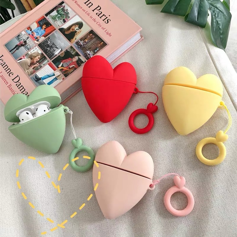 Silicone Case For AirPods Case Cute Love Heart Pocket Monsters Protective Cover For Apple Airpods 2 Headphone Finger Ring Strap