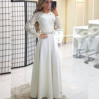 Autumn Winter Long Sleeves Wedding Dress White Floor Length O neck Lace Robe De Mariee Vintage Elegant Beading vestido de noiva