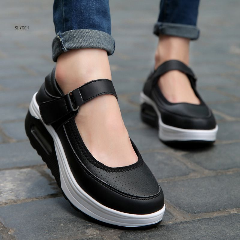 New shoes Women Shoes Inside Increasing High Casual Woman Ladies slim Flats Shoes footwear Sale Thick-soled platform shoes