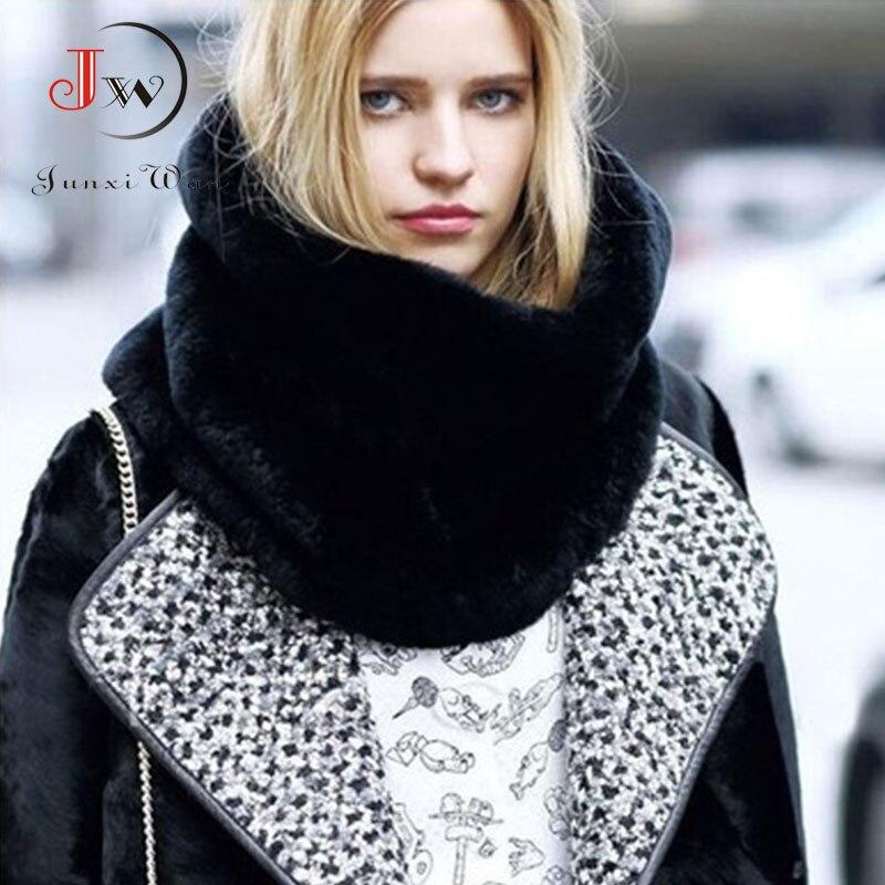 Bufanda de invierno de piel de conejo para mujer, Collar de piel sintética, pañuelos de anillo para mujer, Pashmina, chal de invierno, foulard Cashmere ST0008