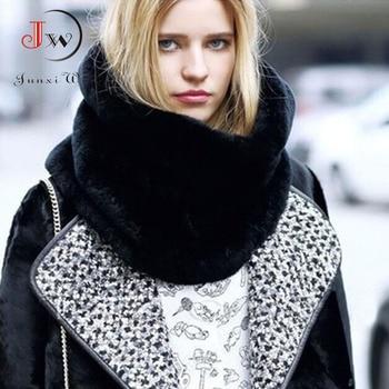 Rabbit Fur Winter Scarf Women Faux Collar Ring Scarves Lady Pashmina Wraps Shawls Bandana foulard Cashmere ST0008 - discount item  10% OFF Scarves & Wraps