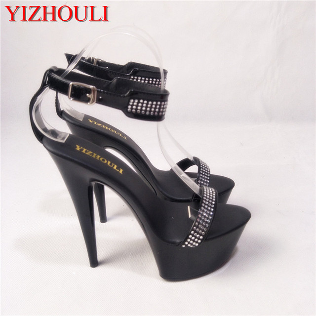 43bb917b558b Transparent Crystal Noble Rhinestone Princess Dinner Formal Dress 15cm High-Heeled  Shoes 6 Inch 4 Colours Sexy All-Match Sandals