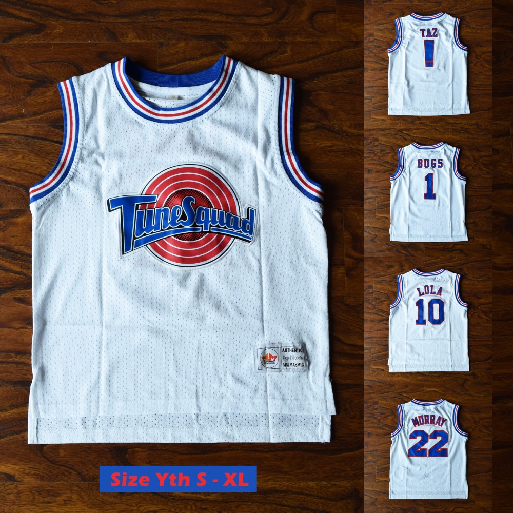 Youth Kids Space Jam TAZ ! Bugs 1 Lola 10 Murray 22 Tune Squad Basketball Jersey Stitched White цена