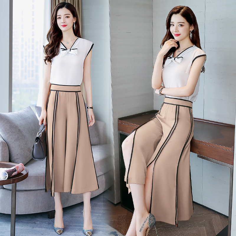 2019 Women Summer 2 pieces sets woman short sleeve v neck tops and wide leg pants