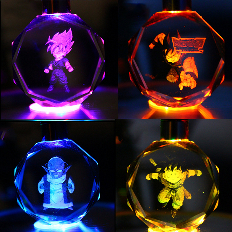 8 Styles Dargon Ball Z Crystal Keychain LED Lamp Mini Novelty Colorful Lights Gift For Kids Gohan, Goku, Goten, Buu, Trunks