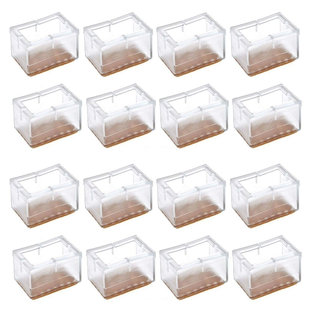 16pcs Chair Leg Caps Transpa Clear Silicone Table Furniture Feet Tips Covers Wood Floor Protectors Felt Pads