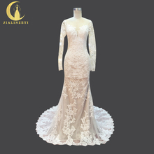 JIALINZEYI Real Picture Long Sleeves Lace Fashion Champagne Mermaid Sexy V Back Bridal Wedding Dresses Wedding Gown