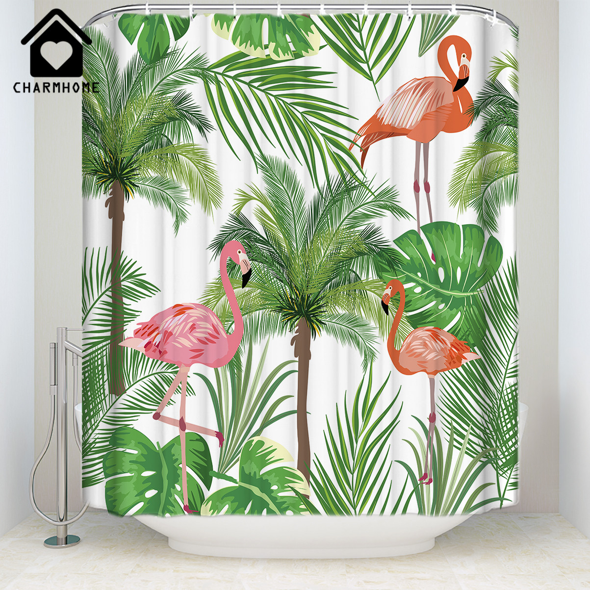 Pink Flamingo Bathroom Decor.Us 15 66 25 Off Charmhome 2018 New Flamingos Bathroom Decor Shower Curtain Pink Flamingo With Tropical Palm Tree Garden Plant Shower Curtain In