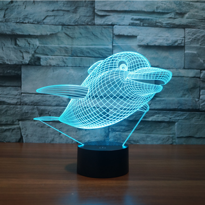 3326 Dolphin Style 2 Porpoise 3D LED Lamp Atmosphere lamp 7 Color Changing Visual illusi ...