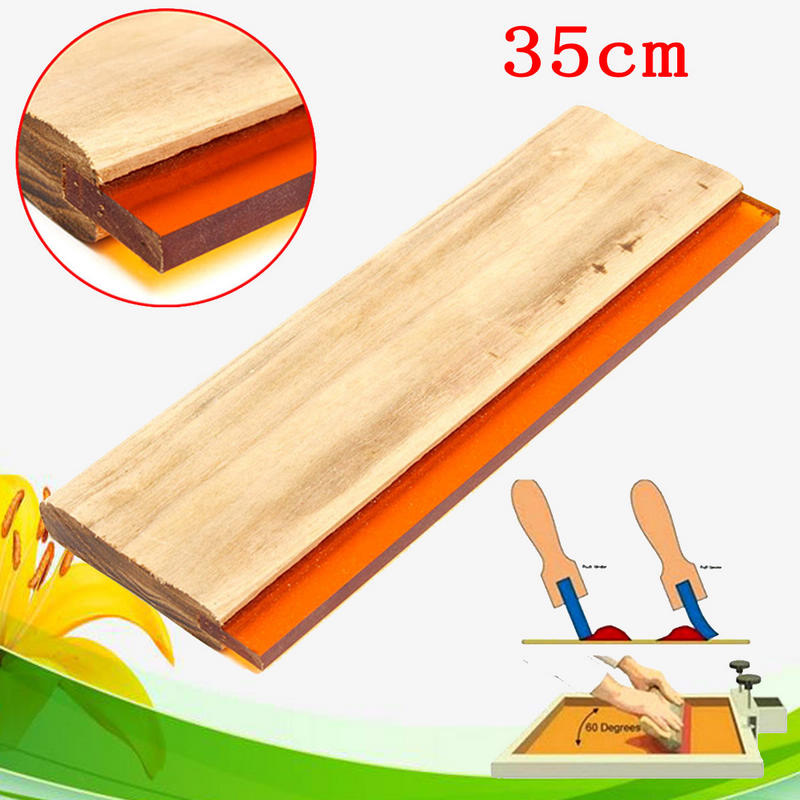 1Pcs 35cm Silk Screen Printing Squeegee Blade Wood Handle Printing Squeegee Scraper For Printing free shipping 3m squeegee high quality wrapping scraper with cloth pp sticker scraper car wrap tools felt scarper squeegee a02