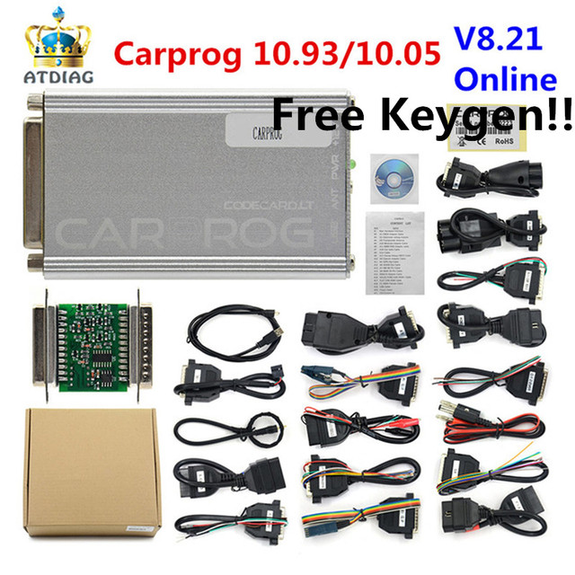 Newest CARPROG V10.93 Carprog V10.0.5 V8.21 Car Prog ECU Chip Tunning Car Repair Tool Carprog 10.93(With All 21 Items Adapters