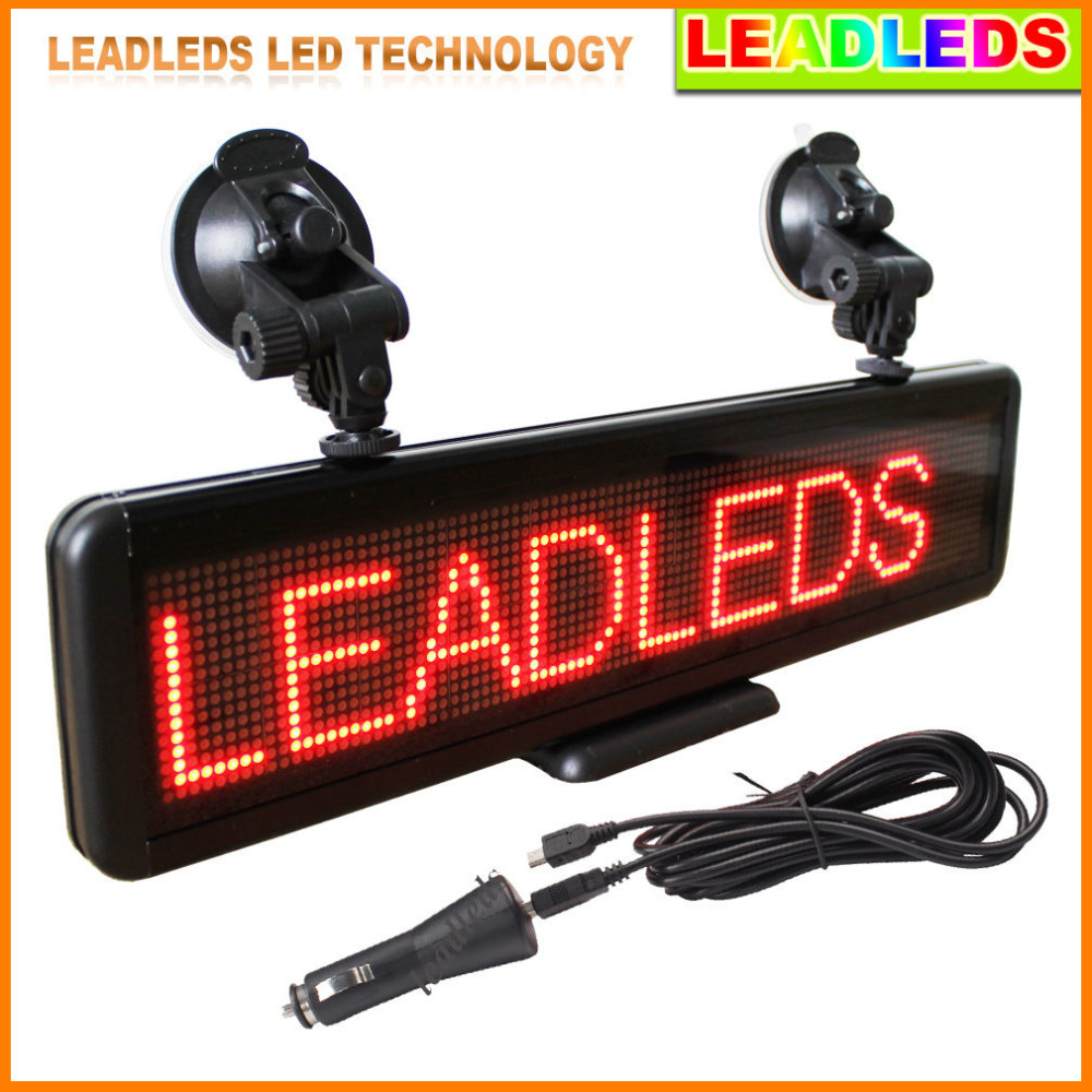 16*64Dots LED Car Sign Moving Message Display Programmable LED Display Board For  Advertising,Includes Built-in Battery