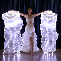 Women 1 Pair Led Belly Dance Fan Veil Belly Dancing Hand Fan Dance Costume Accessories