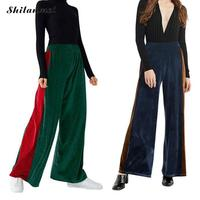 Fashion Loose Casual Velvet Wide Leg Pants Trousers For Women 2018 Large Size High Waist Pleated