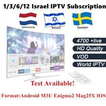 Israel Assinatura IPTV 5000 Canais em VOD Livre total Nos Países Baixos Espanha REINO UNIDO Sueco Norueguês Dinamarquês IPTV Inteligente Caixa de TV IP