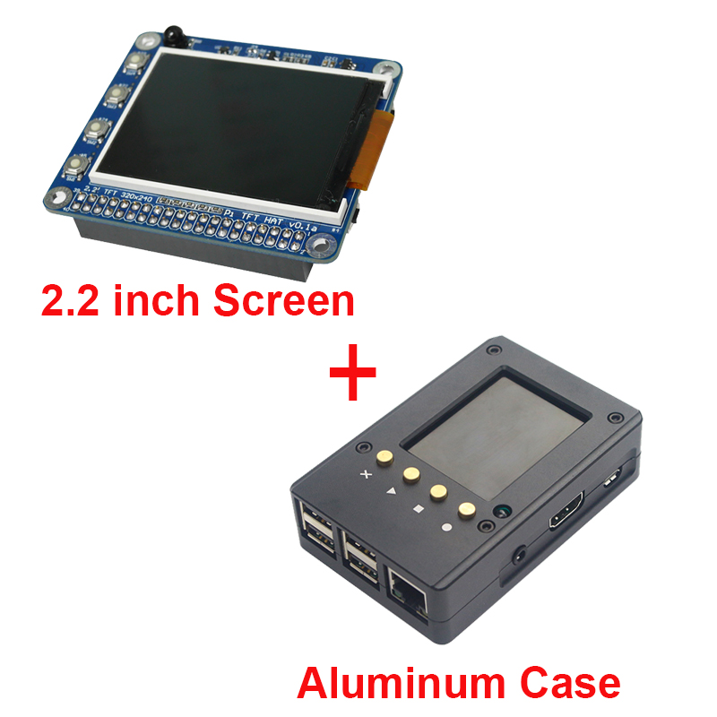 ФОТО Raspberry Pi 3 Model B 2.2 Inch TFT Screen LCD Display + Black Aluminum Enclosure Case Box also for Raspberry Pi 2 Free Shipping