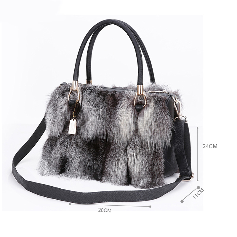 Etersto 2017 New Arrival Women Real Silver Fox Fur Messenger Bags Female Handbag Bag Las Crossbody In Top Handle From Luggage