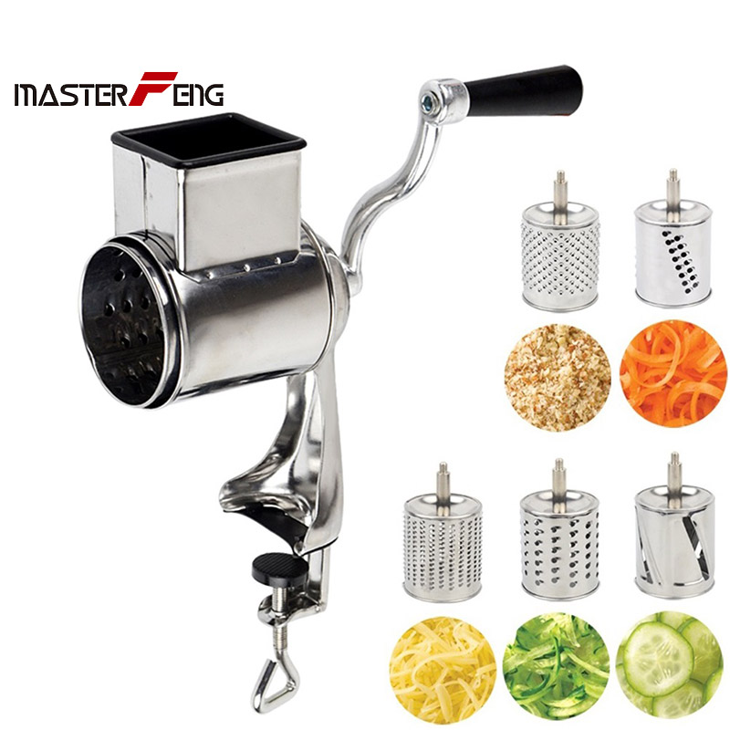 Multi Functional Kitchen Rotary Nut cheese grater vegetable shredder fruits slicer with 5 drums kitchen chopper