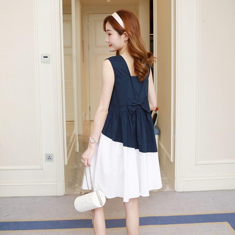 8606 # Sommer Mode Mutterschaft Kleid Süße Backless Schlag Dünne Kleidung Für Schwangere Frauen Sleeveless Nette Tank Schwangerschaft Kleidung
