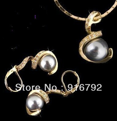 free shipping ******China southsea shell grey pearl pendant earring +chain