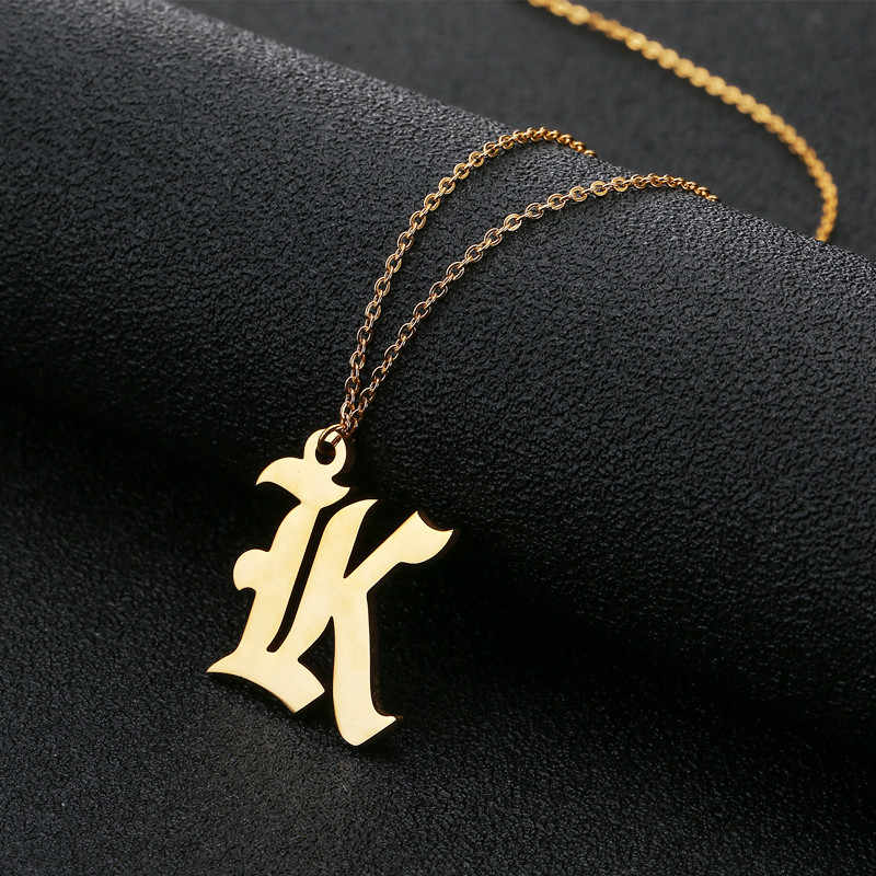Unisex 26 Capital Letter Necklace Women Stainless Steel Ethiopian Gold Letter E Pendant With Chain Cheap Necklace Jewelry
