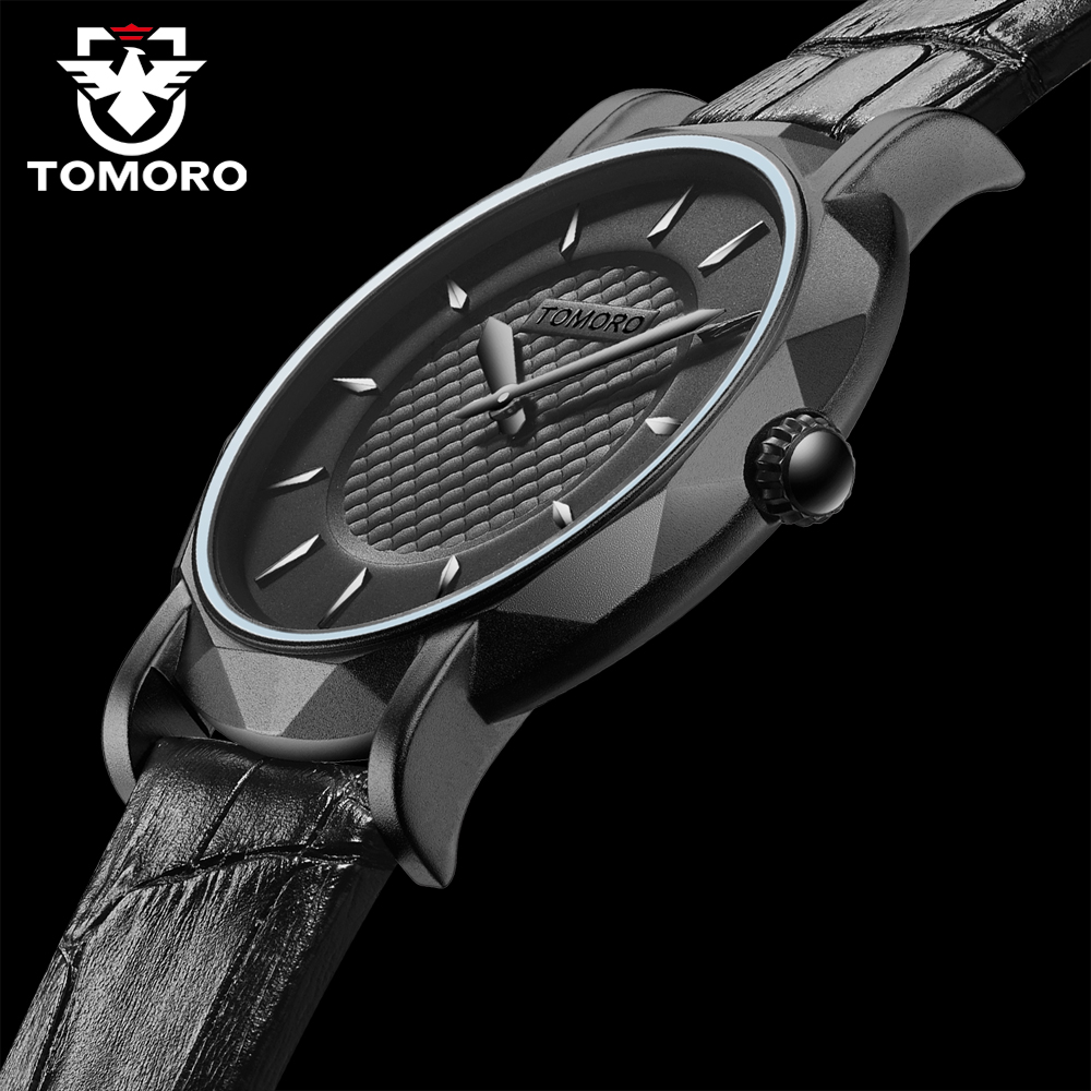 TOMORO Slim Eclipse New Top Brand Luxury Men Watch Japan Quartz Watches Brass Case Leather Ultra Thin Black Casual Gift Clock