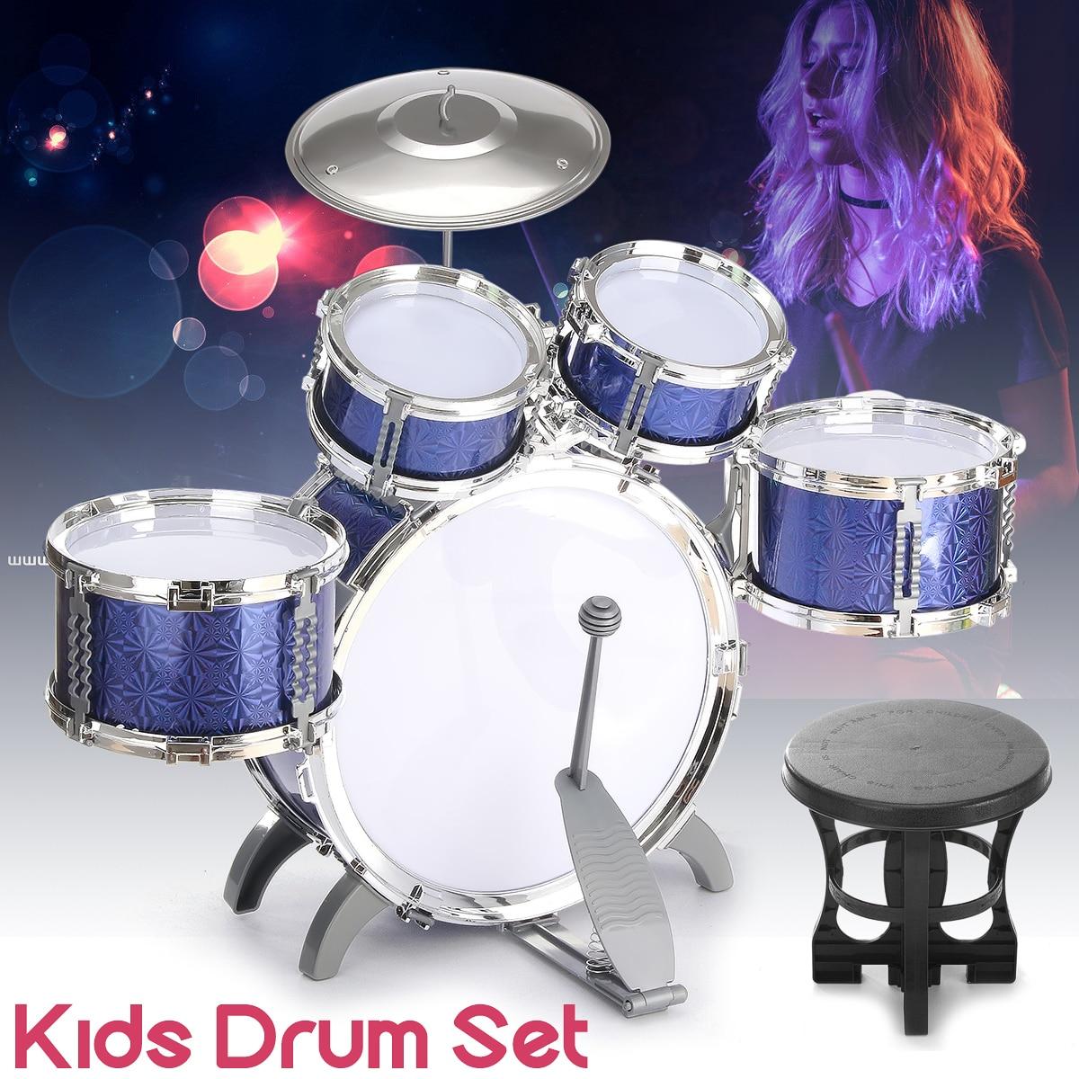 Kit de batterie bleu enfants Instrument éducatif de musique enfant avec des bâtons de tabouret cadeau cymbale Instruments de Percussion cadeau pour les enfants