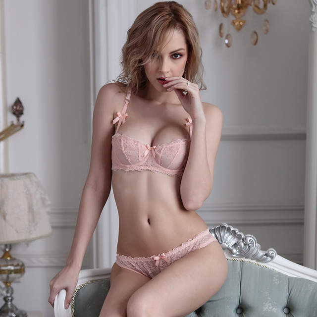 903e99d6a9d99 ANNROOT 2018 Big Cup French Lace Bra Panties Set Thin Cup Bombshell  Underwear Set Sexy Lingerie