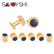 SAVOYSHI model Jewelry Fashion Luxury cufflink ctuds males's shirt gold Tuxedo studs Mother of crystal studs finest males present