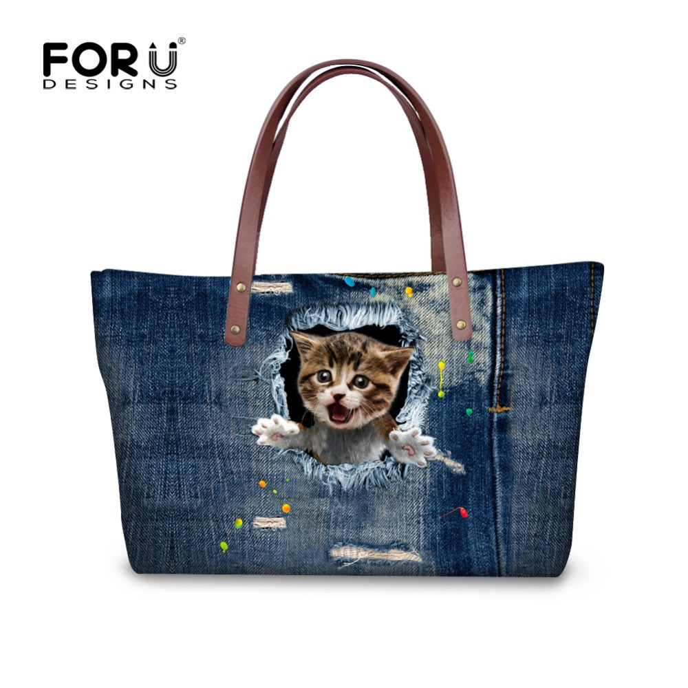 Fashion Women Causal Bags Animal Cute Cat Denim Print Ladies Handbag Large Shoulder Bags Elegant Ladies