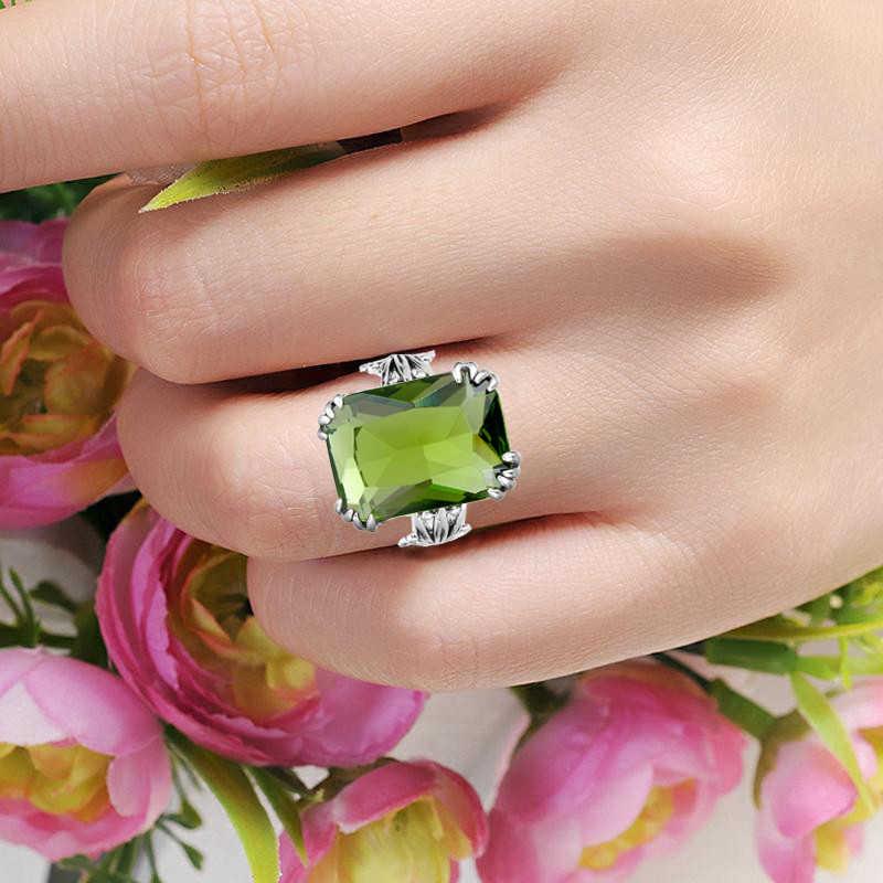 SzjinAo Настоящее серебро 925 проба кольцо в индийском стиле, украшения цветок лоза зубец Установка драгоценный камень модные аксессуары кольца из перидота для женщин