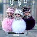 Hot Cute Cartoon Monchichi Doll Keychain Rhinestone Girl Inlay Crystal Car Key ring holder Women Bag charm Accessories
