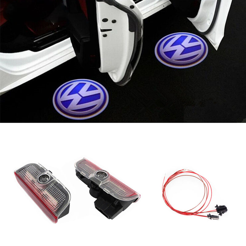 2x 3D LED Car Door Logo Lights For Volkswagen VW Golf 5 6 7 Passat B6 B7 CC Jetta MK5 MK6 MK7 Tiguan Scirocco EOS Sharan MAGOTAN внешний pm2 5 volkswagen golf кондиционер воздушный фильтр 6 7 sagitar magotan cc octavia нового tiguan новый passat