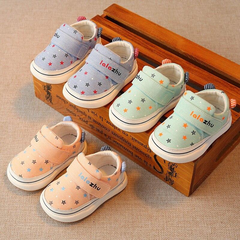 Новые весенние детские хлопчатобумажные ткани, обувь для мальчиков и девочек удобные повседневные ботинки малыша симпатичные кеды высоког...