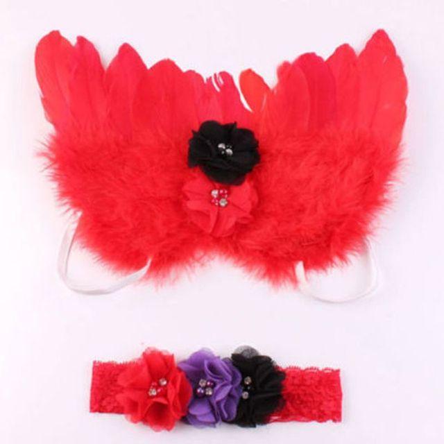 Newborn Baby Girls Pink Feather Angel Wing +Flower Headband Photography Prop