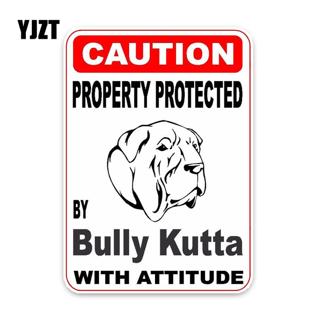 US $1 1 40% OFF|YJZT 15*11 4CM Property Protected By Bully Kutta Dog Puppy  Pet Decoration Fashion Car Sticker C1 4695-in Car Stickers from Automobiles