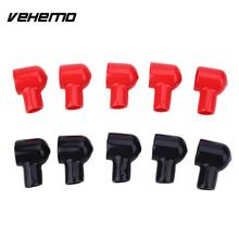 Vehemo 10PCS Auto Car Black Red Battery Terminal Boot Round Insulating Cover Sleeve Tool 20x12mm