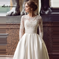 Скромный длинный рукав турецкие свадебные платья Scoop Сатиновые аппликации A Line свадебное платье с карманами Vestidos de Novia