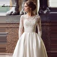 Modest Long Sleeve Wedding Dresses Turkey Scoop Satin Appliqued A line Bridal Gown with Pockets Vestidos de Novia