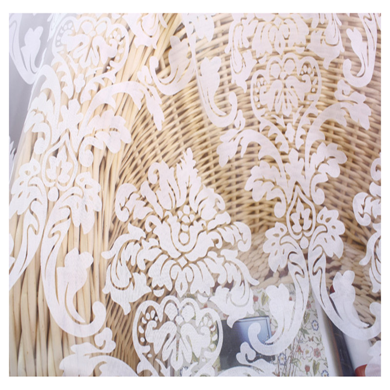 Classic European white screen burnout curtain sheer flower curtain bedroom livingroom yarn tulle M363(China)