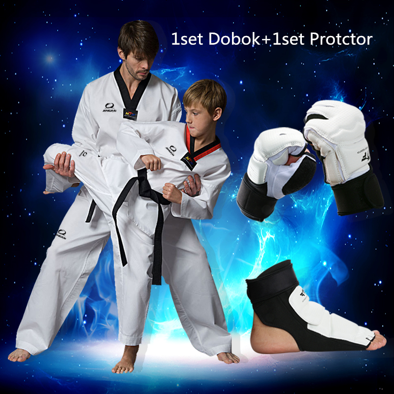 Adult kids cotton breathable junior uniform dobok WTF Approved taekwondo clothes 1set protect <font><b>gloves</b></font> Taekwondo Foot Protector