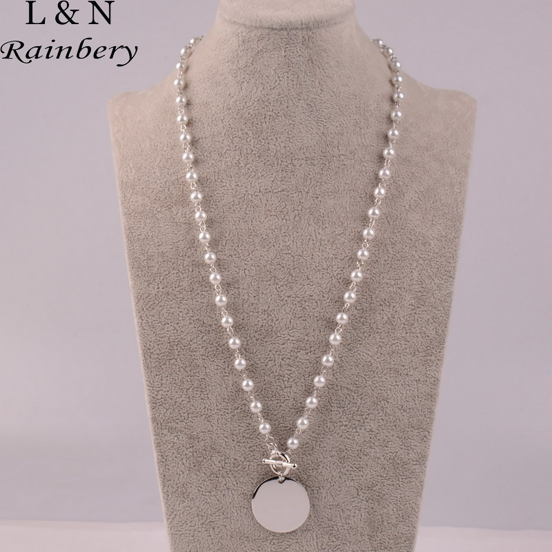 Rainbery fashion long pearl necklace monogram disc pearl necklace rainbery fashion long pearl necklace monogram disc pearl necklace sweater chain jewelry for women jn1022 in pendant necklaces from jewelry accessories on mozeypictures Choice Image