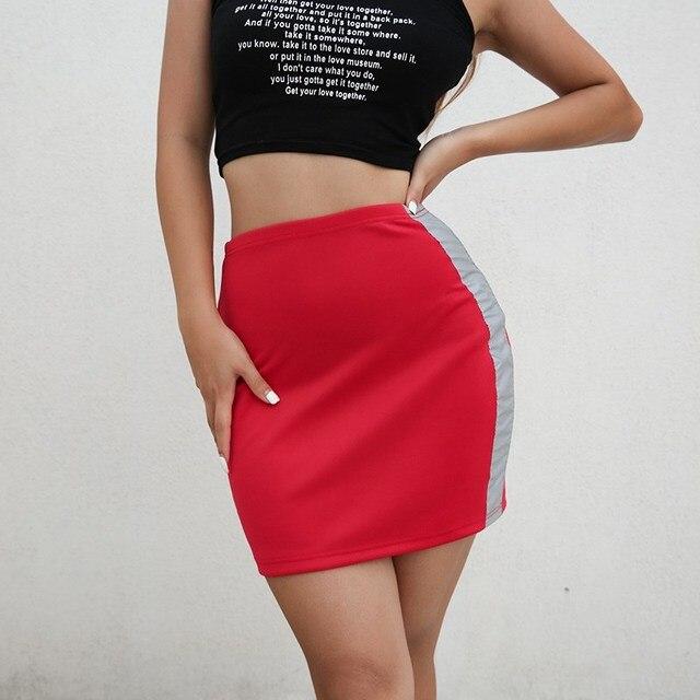 4d7e414867 Kobiety Mocno Krótka Spódniczka Odblaskowy Pas Dekoracji Mini Spódniczki  Punk Style Czerwony Srebrny Patchwork Spódnica