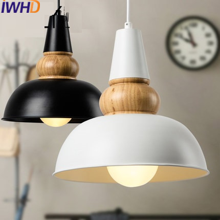 IWHD American Style Lid Iron Pendant Lights Led Vintage Industrial Lighting Fixtures Loft White Black Retro Wood Hanging Lamp american retro pendant lights luminaire lamp iron industrial vintage led pendant lighting fixtures bar loft restaurant e27 black