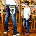 Мальчик джинсы Корейский мальчик весенняя мода дети рваные джинсы ковбойские брюки джинсовые Брюки 2017