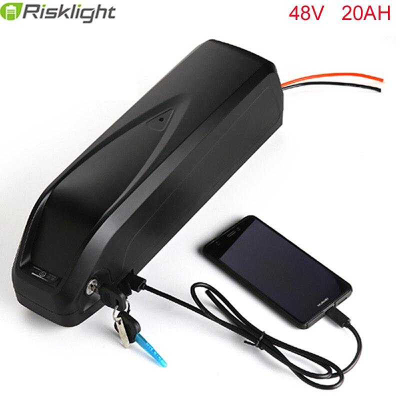 electric bike battery 48V 20Ah 1000w Li-ion e-bike battery pack with USB Hailong battery for 48V 750w motor kit