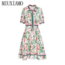 MIUXIMAO 2019Spring  Fashion Runway Half Dress Women's Belted Collar Multicolor Floral Print Vintage Elegant Dress vestidos недорого